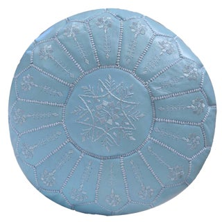 Embroidered Leather Pouf, Baby Blue Starburst Stitch For Sale