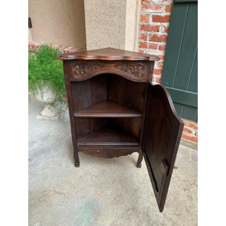 Petite Antique French Carved Dark Oak Corner Cabinet Shelf Bookcase Louis XV Preview