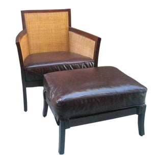 Crate & Barrel Leather Blake Lounge Chair and Matching Ottoman For Sale
