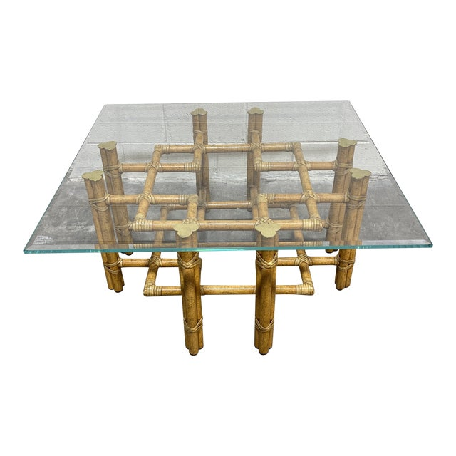 McGuire Bamboo Brass Glass Coffee Table For Sale