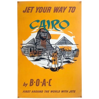 "Vintage 1959 Rare Mid Century Modern "" Jet Your Way to Cairo by b.o.a.c. "" Silkscreen Print Collector's Airline Travel Poster For Sale"