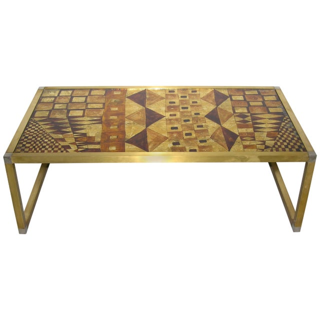 Gold 1970s Italian Art Deco Abstract Design Brass Coffee Table With Gold Leaf For Sale - Image 8 of 8