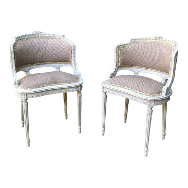 Antique French Louis XVI Painted Armchairs - a Pair For Sale