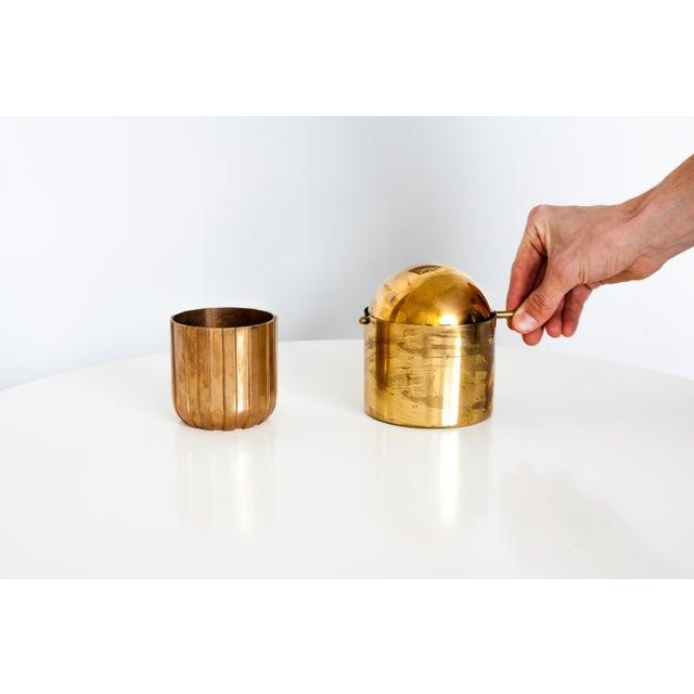 "Mid-Century Modern Cylinda-Line Brass Ashtray by Arne Jacobsen X Stelton With Brass ""Vendor"" Vase For Sale - Image 3 of 8"