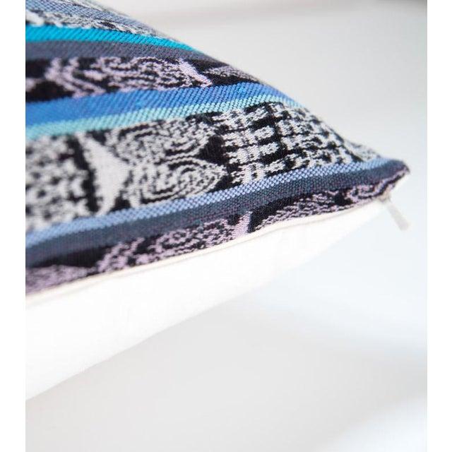 Vintage Guatemalan Cyan Ikat Pillow - Image 3 of 5