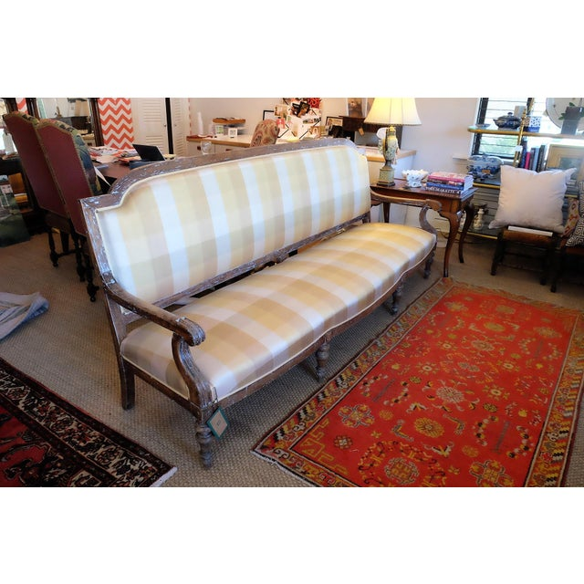 French Provincial Large French Provincial Upholstered Sofa For Sale - Image 3 of 6