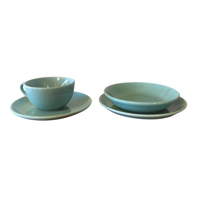Mid-Century Pottery Aqua Speckled Dishes - Set of 4 For Sale