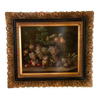 Late 20th Century Framed Still Life Oil Painting For Sale