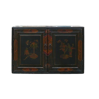 Chinese Vintage Flower Chest Storage Cabinet For Sale