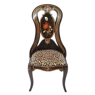 Victorian Lacquered & Pearl Chair Inlaid Chair For Sale