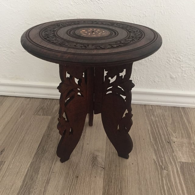 Floral Carved Chai Table - Image 2 of 9