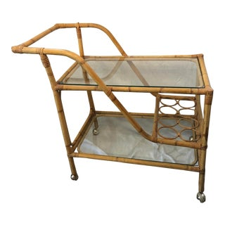 1960s Rattan Bamboo Bar Cart For Sale