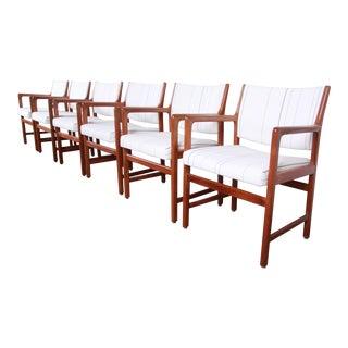Karl Erik Ekselius for j.o. Carlsson Swedish Modern Solid Teak Arm Chairs, Set of Six For Sale