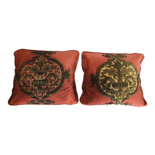 1920s Vintage 18th C. Tapestry Fragment Pillows - A Pair For Sale