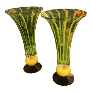 1980's Art Glass Vases, Chartreuse W/ Yellow Stripes, a Pair For Sale