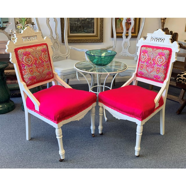 A pair of antique Eastlake chairs, fit for royalty! Hand carved frames re finished in Benjamin Moore's 'Swiss Coffee', new...