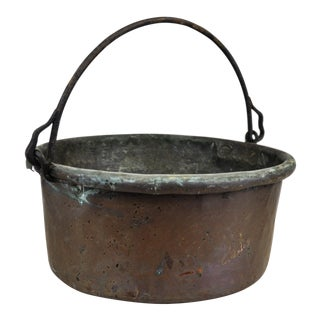 Antique Copper Bowl Kettle Pot Planter For Sale