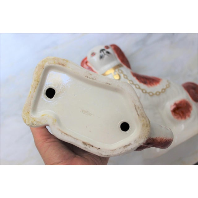 1950s Figurative Staffordshire Ceramic Spaniels Dogs - a Pair For Sale - Image 11 of 13