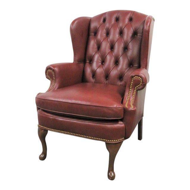 Hickory LeatherTufted Queen Anne Style Wing Chair For Sale