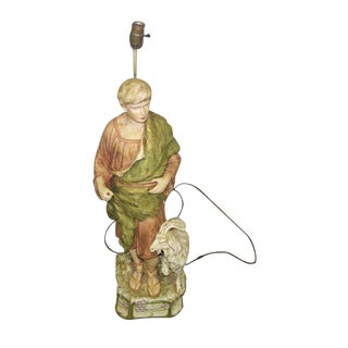 Vintage Shepherd Statue Lamp For Sale