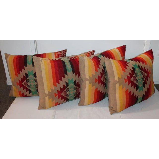 Gray Amazing Flying Geese and Striped Pendleton Pillows For Sale - Image 8 of 8