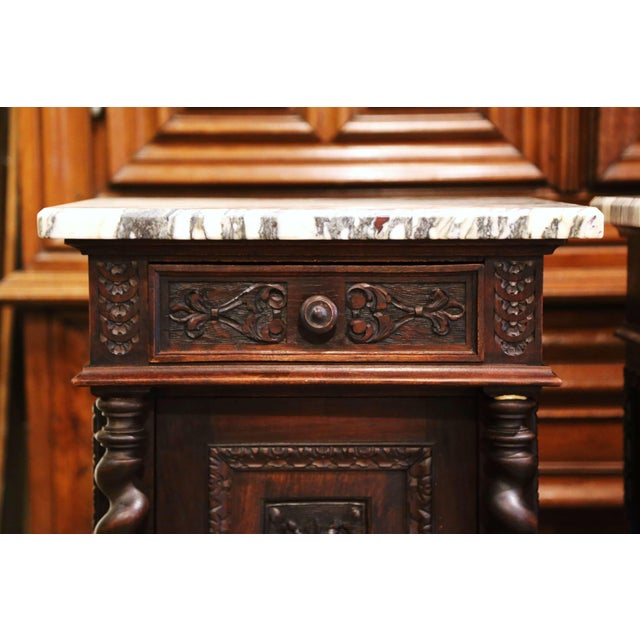 French Pair of 19th Century French Carved Oak Nightstands With Marble Top For Sale - Image 3 of 13