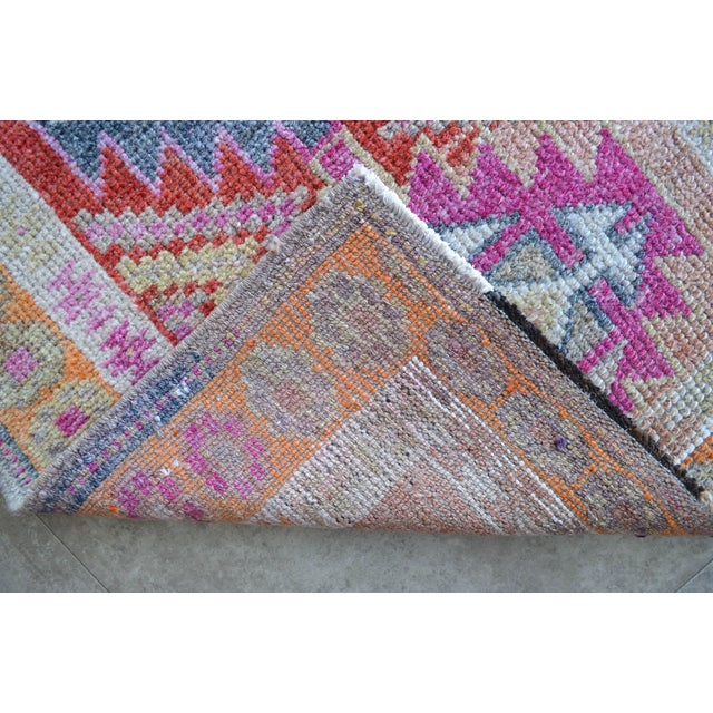 Hand-Made Turkish Runner Rug. Muted Colors Tribal Herki Rug Runner Hallway Decor - 2′9″ × 11′4″ For Sale - Image 9 of 10