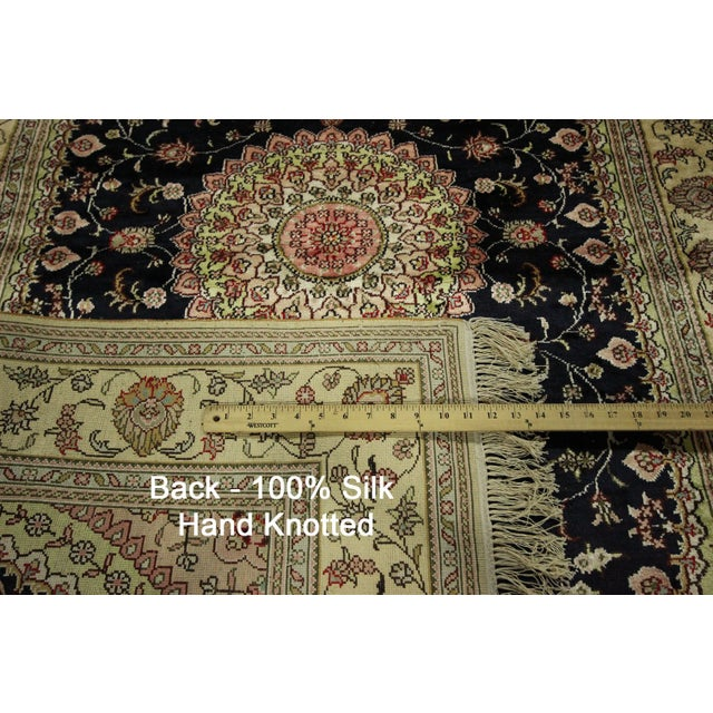 Kashan Silk Midnight Blue-Ivory Rug - 4' x 6' - Image 8 of 8