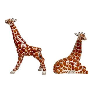 Italian Porcelain Giraffe Figures - a Pair For Sale