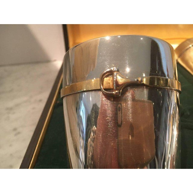 Rare set of six iconic Gucci silver plate glasses with equestrian design in a gold wash. Still in their leather...