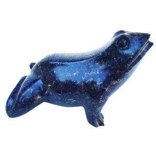 Carved Blue Lapis Frog