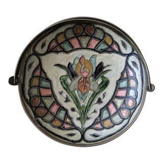 Floral Enameled Cloisonne Catchall Bowl With Handle For Sale