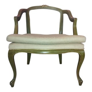 1970s Vintage French Louis XV Style Barrel Back Caned Bergere Chair For Sale
