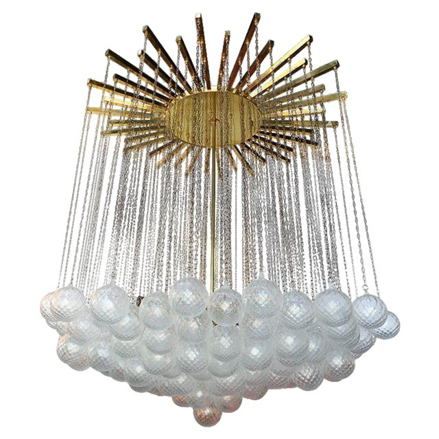 1970s Italian Bubble Glass Chandelier For Sale