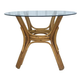 Vintage Rattan Dining Table With Glass Top For Sale
