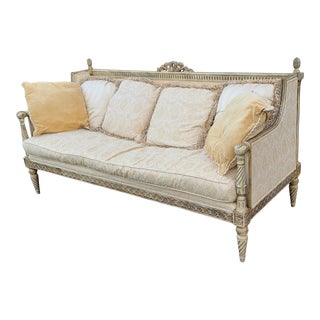 Henredon Schoonbeck Collection French Louis XV Washed White Living Room Sofa For Sale