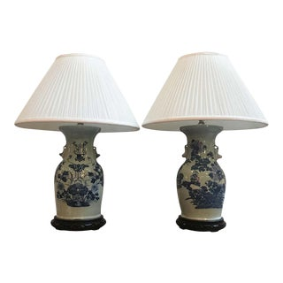 1920s Hand Painted Blue and White Porcelain Chinese Vases Mounted Table Lamps - a Pair For Sale