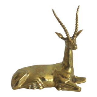 20th Century Figurative Brass Antelope Figurine