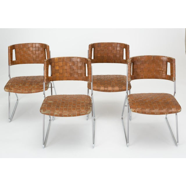 Set of Four Dining Chairs With Woven Leather Upholstery by Chromcraft For Sale - Image 13 of 13