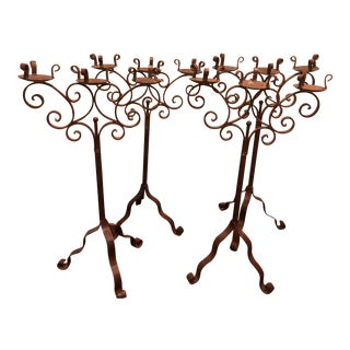 Vintage Iron Candelabras - Pair For Sale