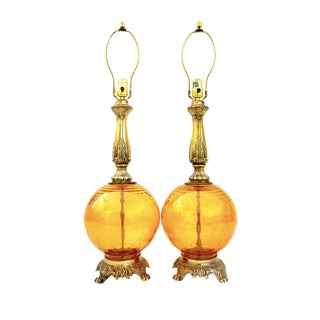 Pair of Mid-Century Optic Amber Glass Ornate Lamps