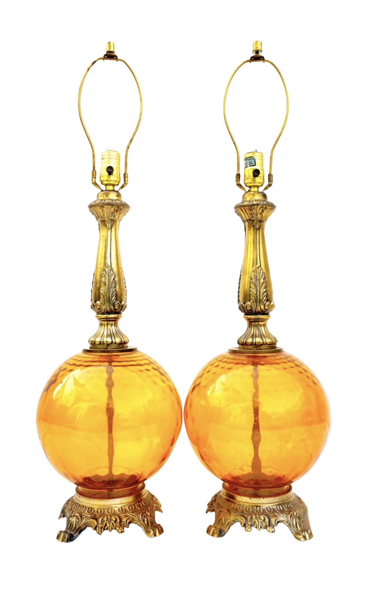 Pair Of Mid Century Optic Amber Glass Ornate Lamps