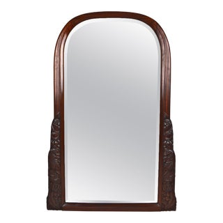1920 French Art Deco Carved Mahogany Fireplace Mantel Mirror For Sale