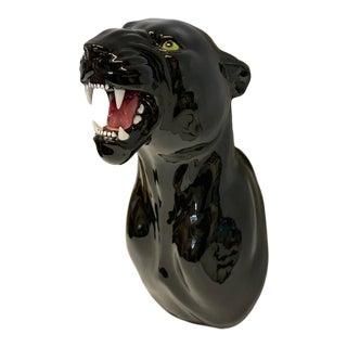 Black Terra Cotta Jaguar Wall Hanging For Sale