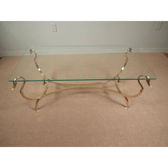 Metal 1960s Swan Head Brass and Glass Coffee Table For Sale - Image 7 of 8