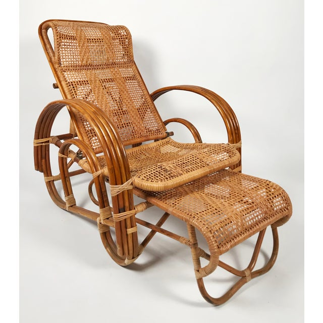 Rattan Reclining Lounge Chair W/ Ottoman For Sale - Image 9 of 10
