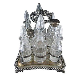 Victorian Silver & Glass Caster Set - Set of 8 For Sale