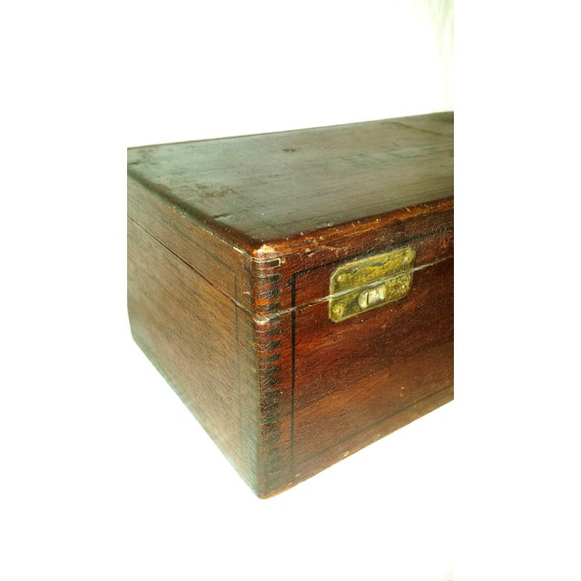 Antique Dove Tailed Wooden Cigar Humidor Box - Image 3 of 11