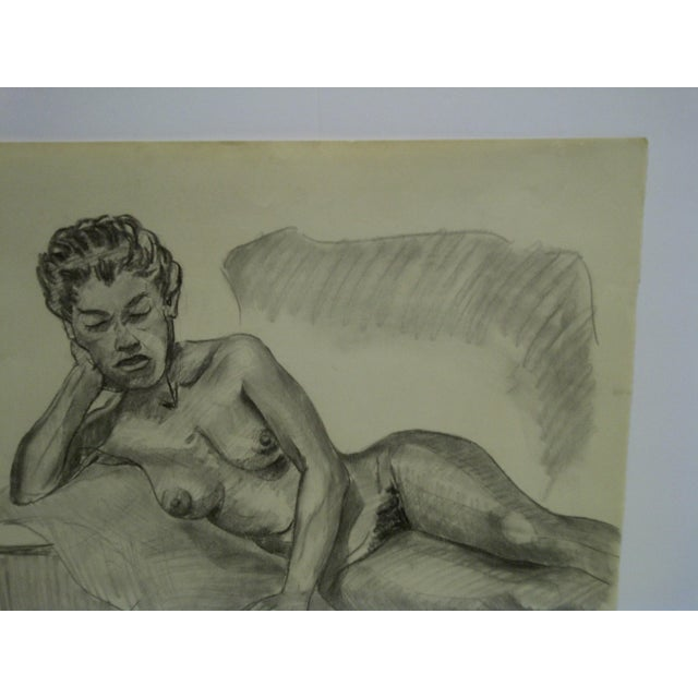 "1956 Mid-Century Modern Original Drawing on Paper, ""Laying Sideways Nude"" by Tom Sturges Jr. For Sale - Image 4 of 5"