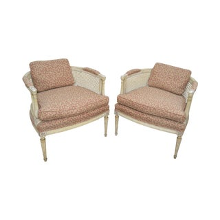 French Louis XVI Style Vintage Pair of Painted Barrel Back Caned Bergere Chairs
